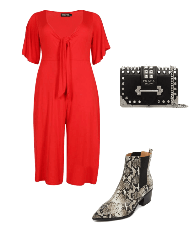 Boohoo red jumpsuit eloquii snakeskin boots