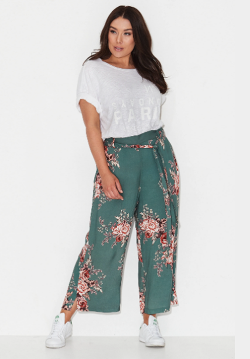 Forest Rose Print Palzzo Pants