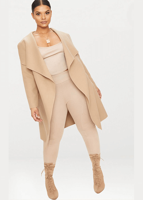 Plus Camel Waterfall Coat - Pretty Little ThingWhat to wear for the straight up and down body type