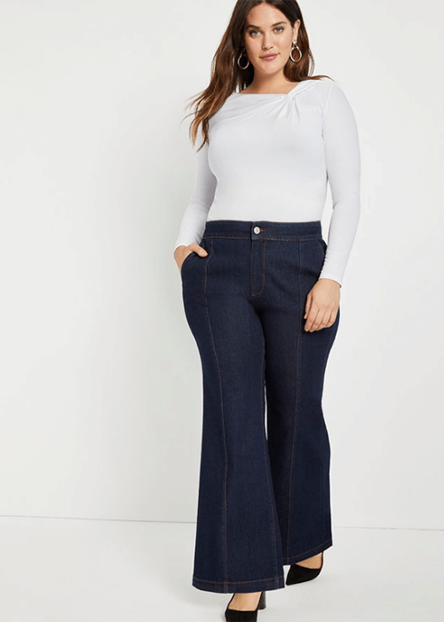 Eloquii Flare jean - what to wear for the straight up and down body shape