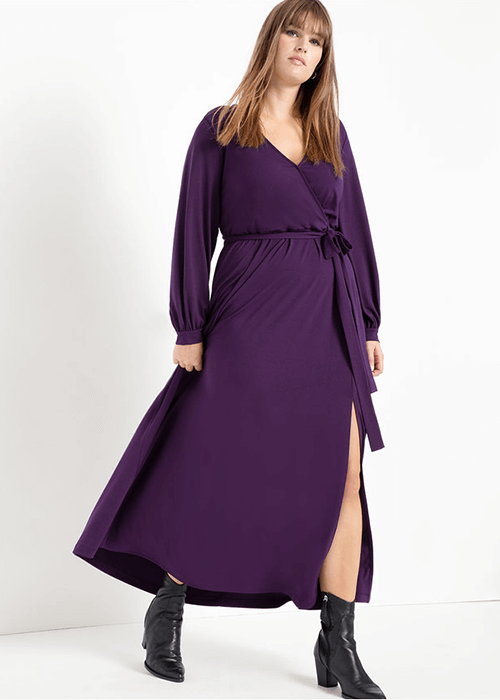 what to weasr for the strawberry body shape Eloquii wrap maxi dress