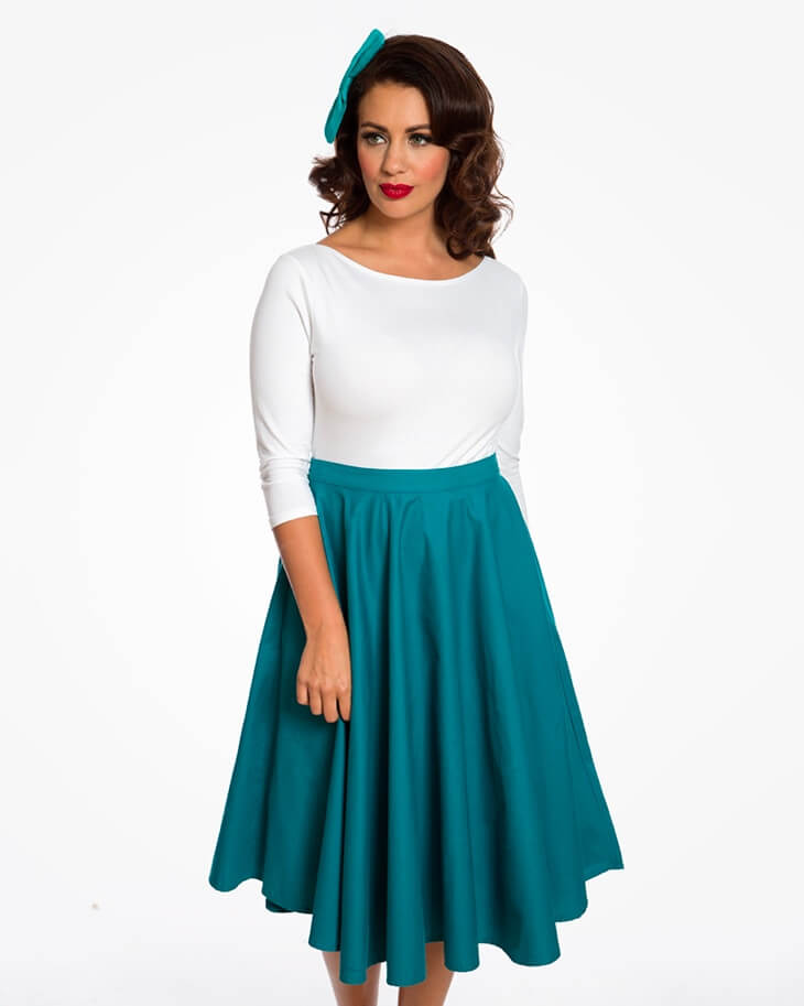 Lindy Pop Plus size teal full circle skirt