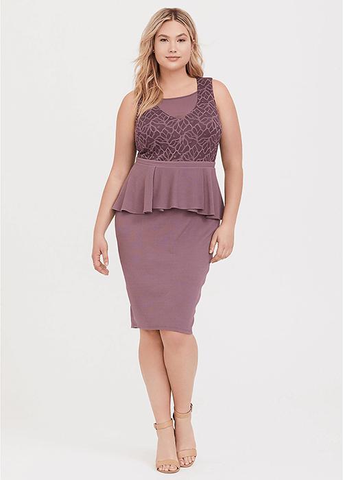 Mauve Purple Textured Scuba and Lace Peplum Dress - Torrid