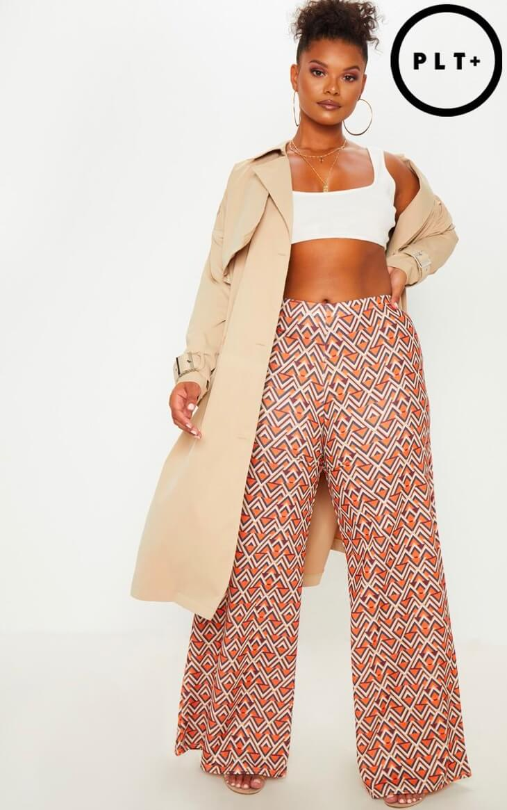 PrettyLittleThing Aztec wide leg pants for plus size