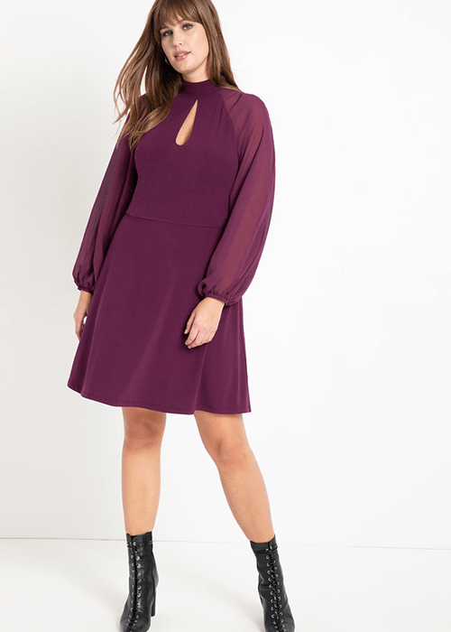 Slit Front Dress Eloquii - what to wear for the straight up and down body shape