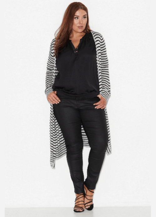 what to wear for the straight up and down body shape striped duster coat 17 Sundays
