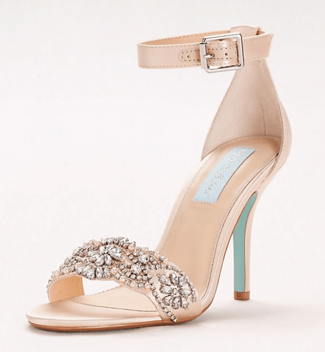 Embellished High Heel Sandals with Ankle Strap