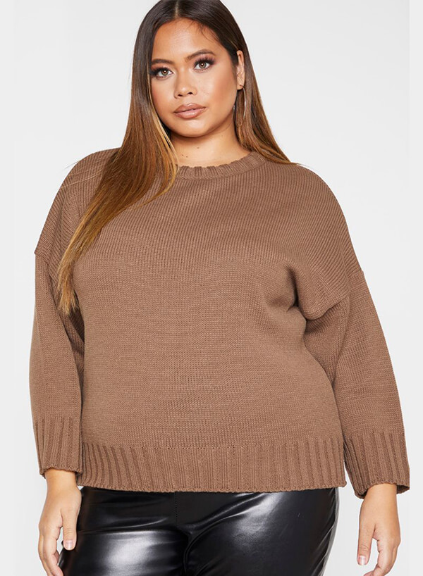 Fall Knitwear Plus Camel Batwing Sweater - Pretty Little Thing