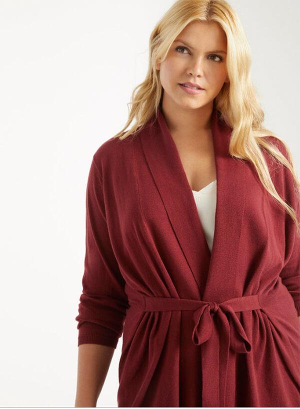 Fall Knitwear Tie-Waist Cardigan - Eloquii