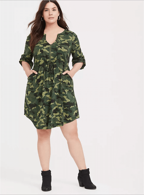 Camo Challis Zip front Shirt Dress