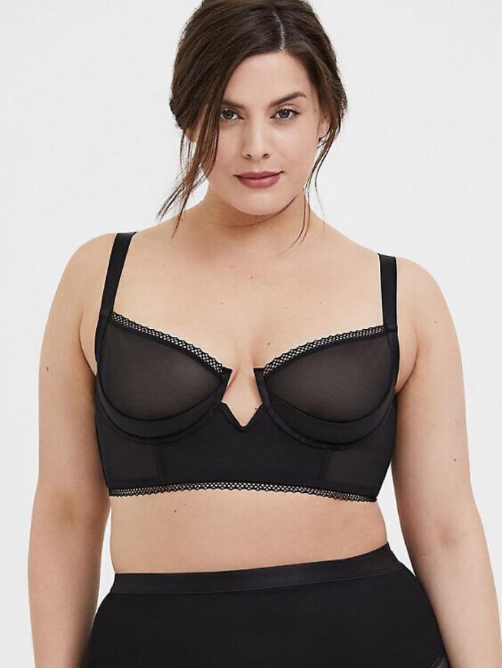 Black mesh plunge plus size lingerie set insyze torrid