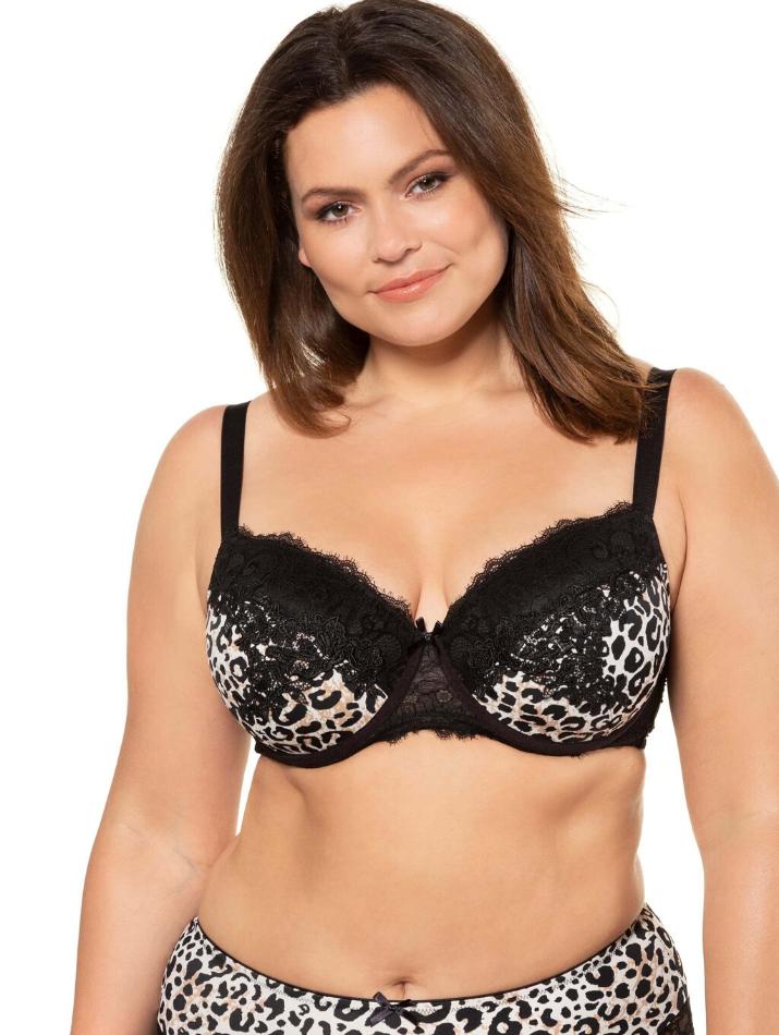 Lace leopard print bra plus size lingerie panty