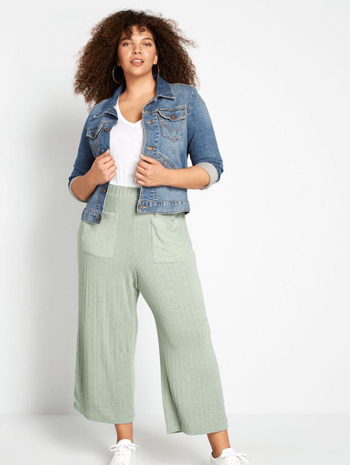 plus size colored flare crop pants