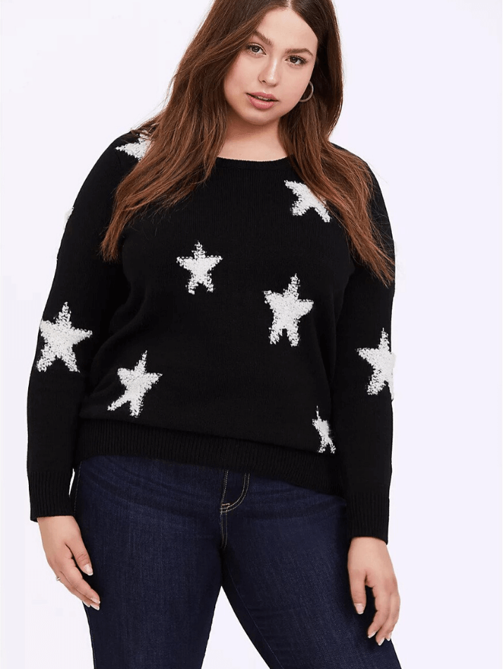 plus size star pullover sweater