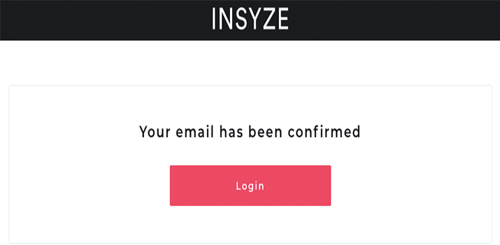 Insyze email confirmed