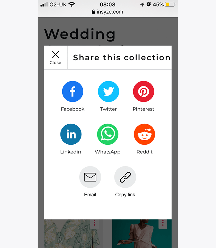 Where you can share your Insyze collections mobile view