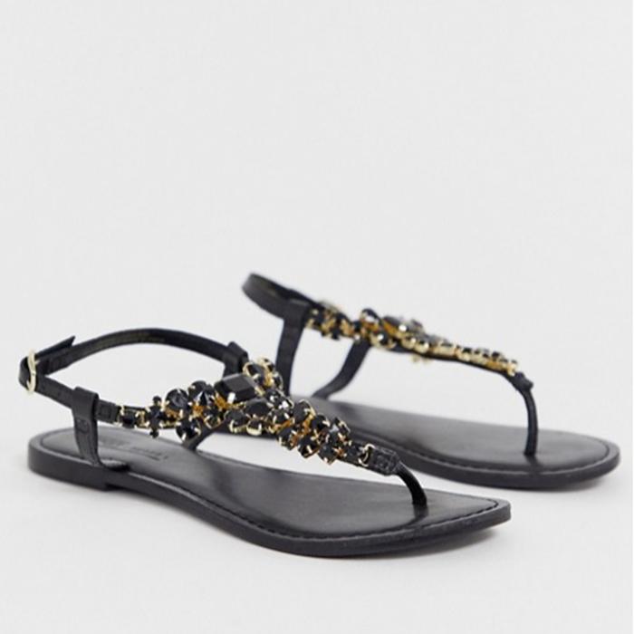 Wide Fit Shoes For Summer ASOS Fairgame Leather Embellished Sandals