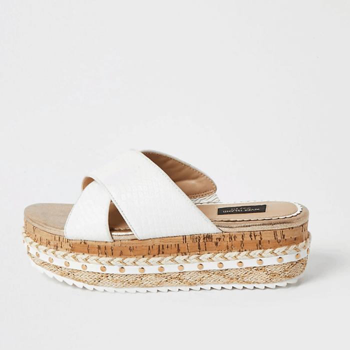 Wide Fit Shoes For Summer White Crossover Flatform Sandals