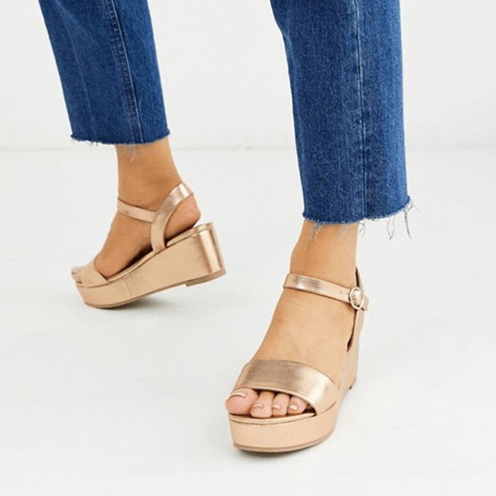 ASOS Design Wide Fit Tallie Flatform Sandals