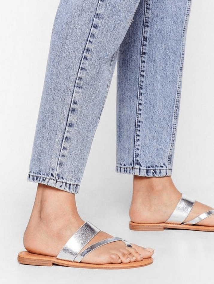 casual wide cheap plus size metallic sandals