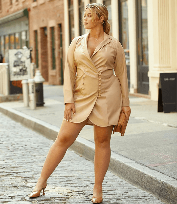 Insyze Guide to Fabrics Fashion To Figure - Kat Faux Leather Blazer Dress