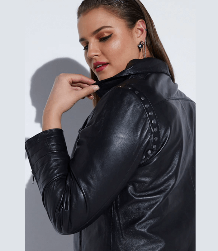 Ulla Popken Leather Biker Jacket