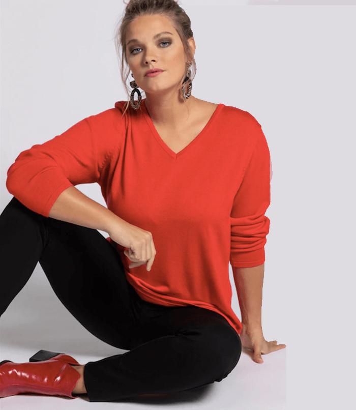Insyze guide to fabrics Ulla Popken Lightweight V Neck Jumper