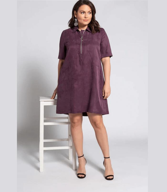 Ulla Popken Lyocell Blend Zipper Front Dress