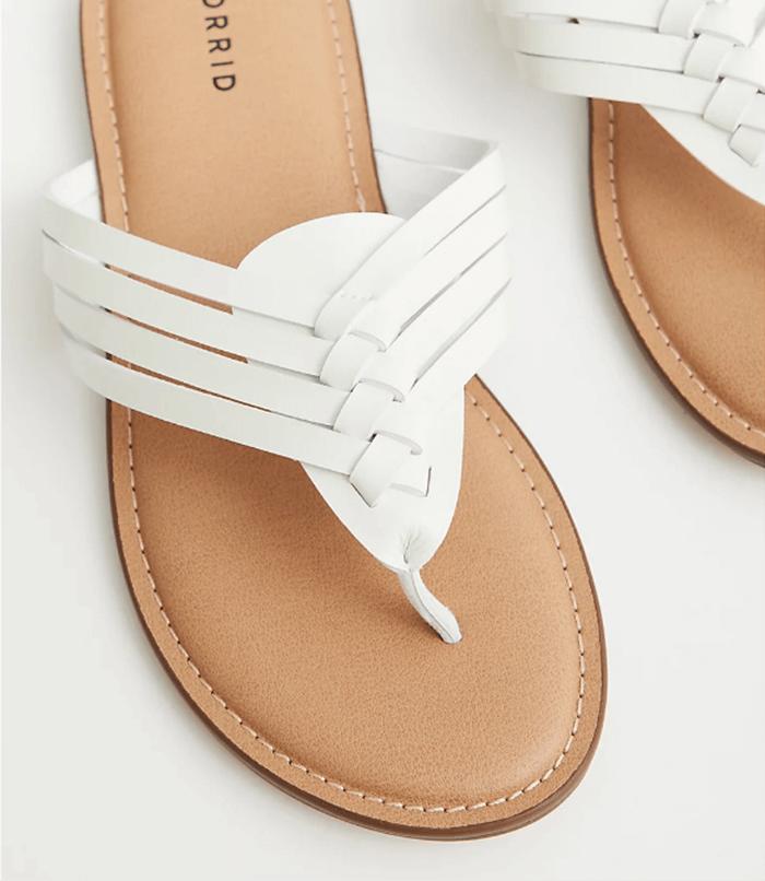 Plus Size Summer Shoes White Faux Leather Braided Flip Flop Torrid