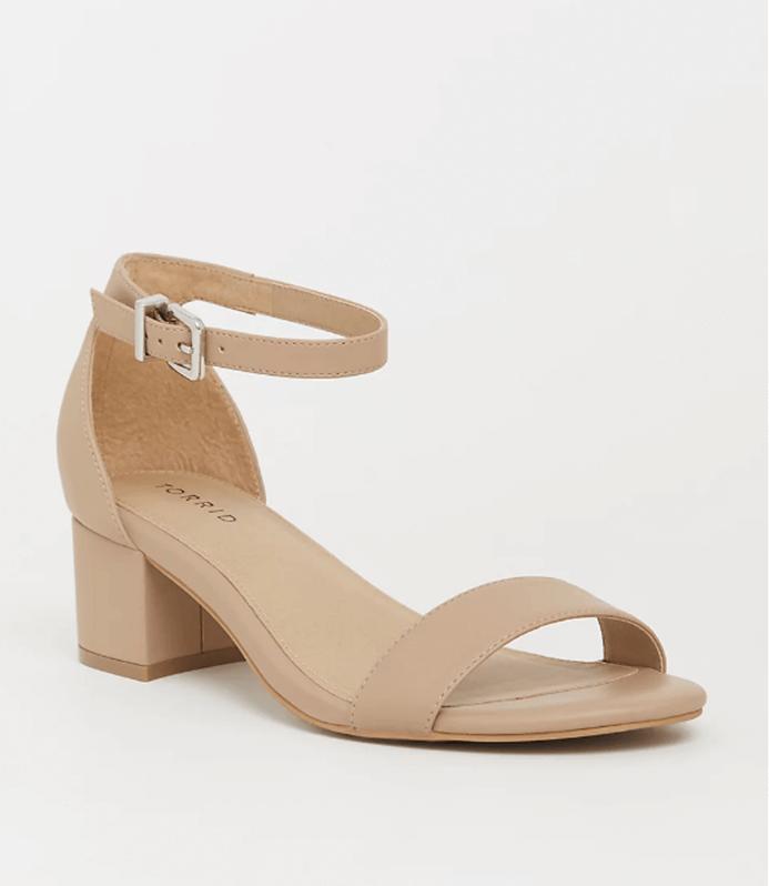 Nude Faux Leather Block Heel Sandal - Torrid
